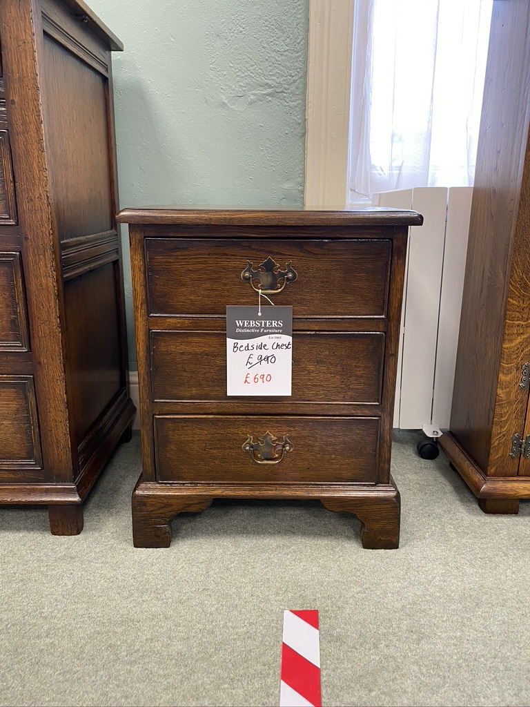 Dark Stained Oak Bedside Table Websters Distinctive Furniture